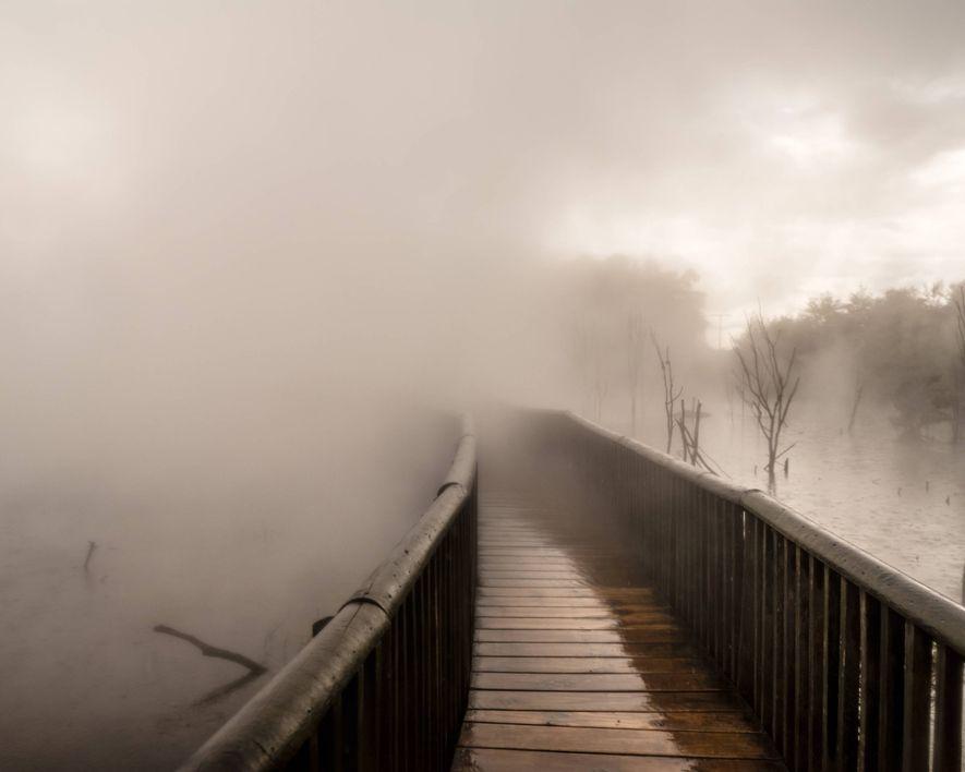 Über diesem Steg im Kuirau Park in Rotorua hängt Wasserdampf, der aus geothermalen Quellen aufsteigt.