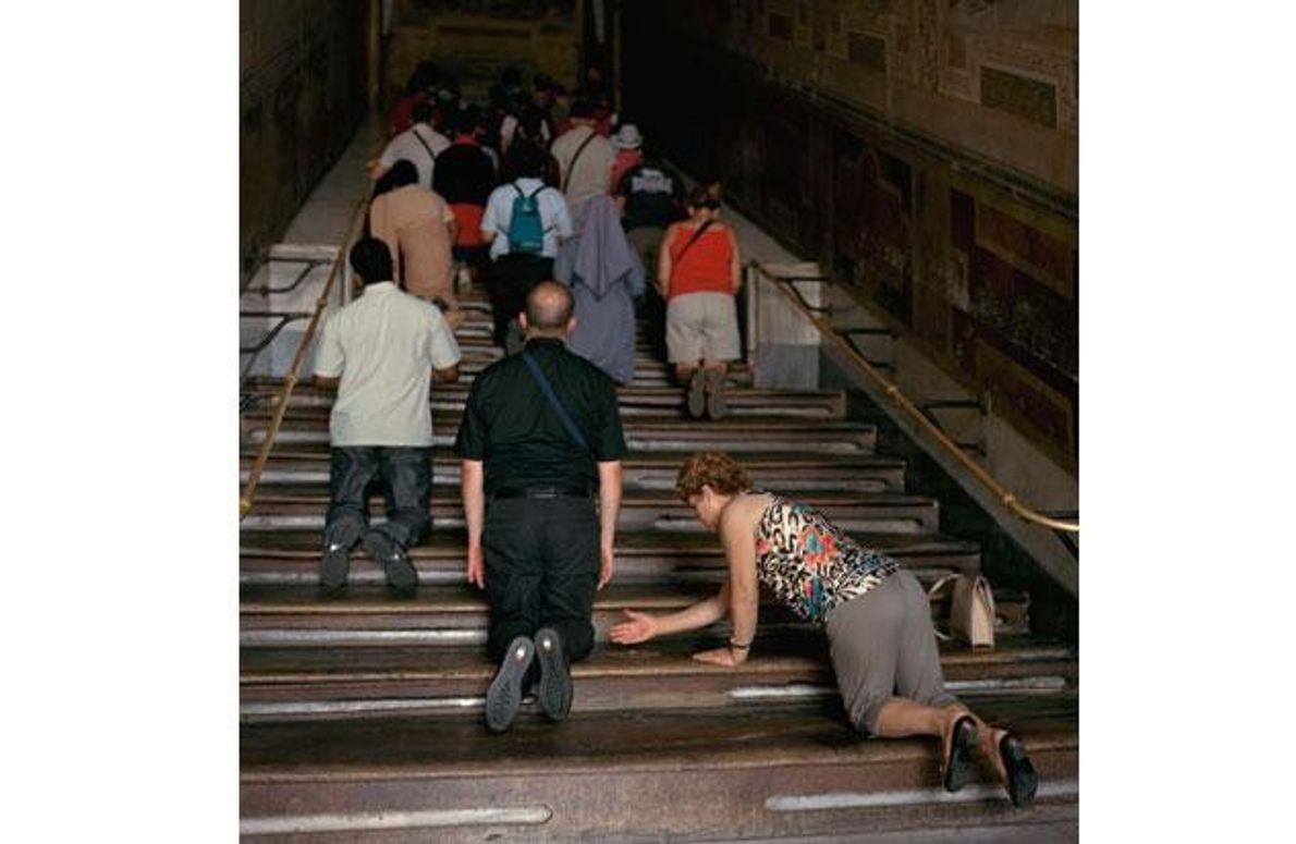 Büßer auf der Heiligen Treppe in Rom