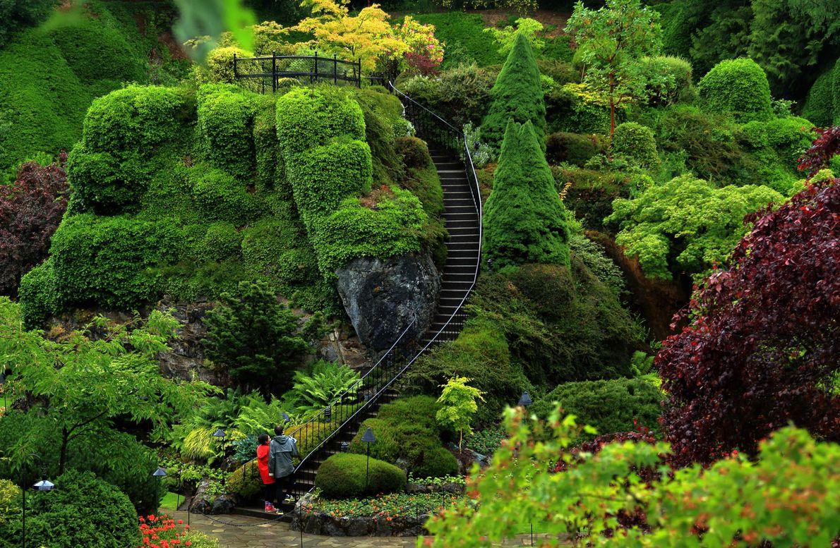 Die Butchart Gardens in Brentwood Bay wurden als National Historic Site deklariert, also als ein Ort ...