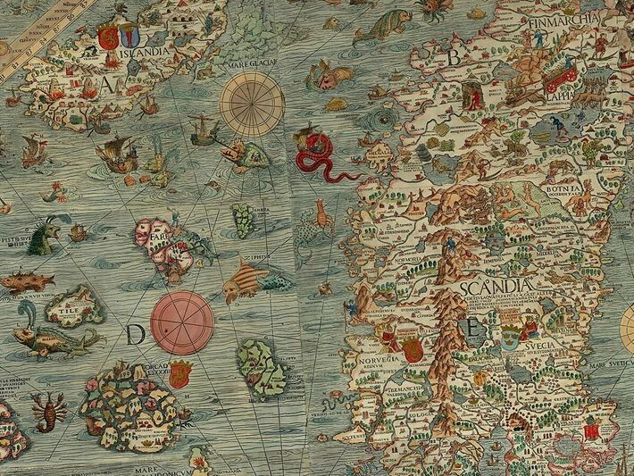 Die Carta Marina war die erste detaillierte Karte Skandinaviens und wurde von dem schwedischen Kartografen Olaus ...