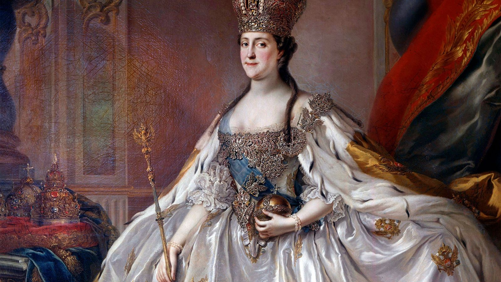 Ein Porträt von Katharina der Großen in ihrer Krönungsrobe nachdem sie ihren Ehemann, Peter III. im ...