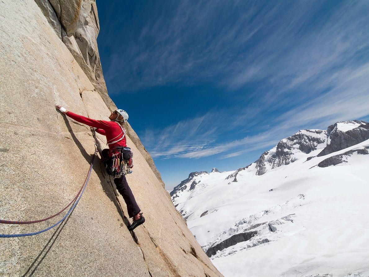 Kletterer an Wand