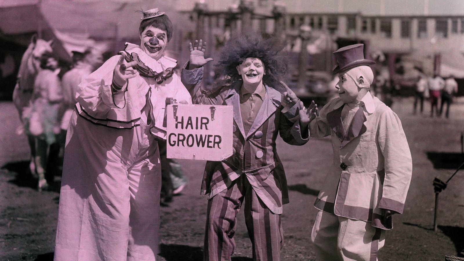 """""""Der patentierte Hairgrower [ein nicht zu übersetzendes Wortspiel, das ein Haarwachsmittel bezeichnen kann – oder jemanden, ..."""