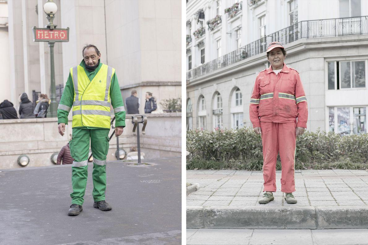 Angestellte der Stadt reinigen die Straßen von Paris (links) und Tianducheng (rechts).