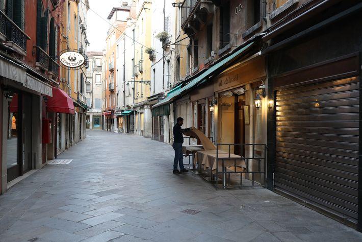 Leere Straßen in Italien