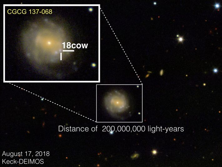 Am 17. August 2018 machte das DEIMOS-Instrument am W.M. Keck Observatory dieses Bild von AT2018cow in ...