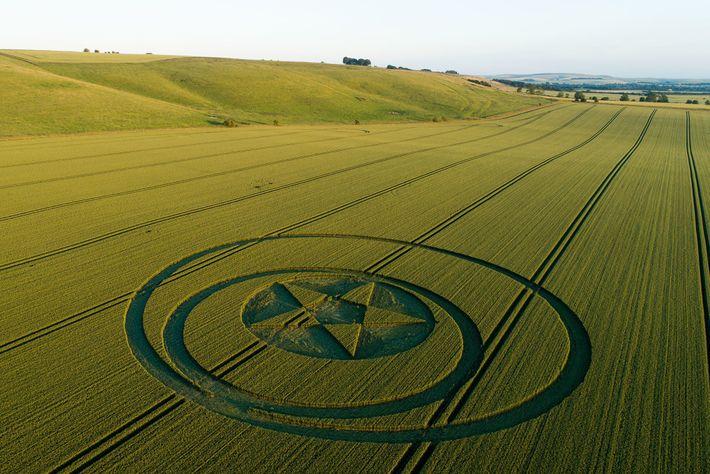 Ein Schild weist Besucher auf einen Kornkreis in der Nähe von Hackpen Hill in Wiltshire hin, ...