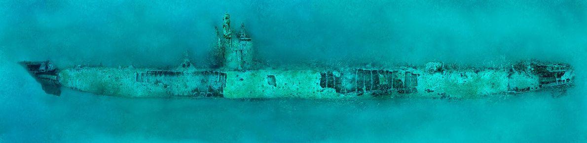 Das deutsche U-Boot U-352 liegt auf dem Grund des Atlantiks bei Morehead City im US-Bundesstaat North ...