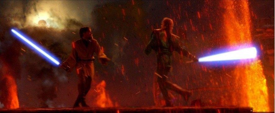 Das Lichtschwert-Duell ist der Höhepunkt von Die Rache der Sith (2005) und war eine größtenteils digital ...