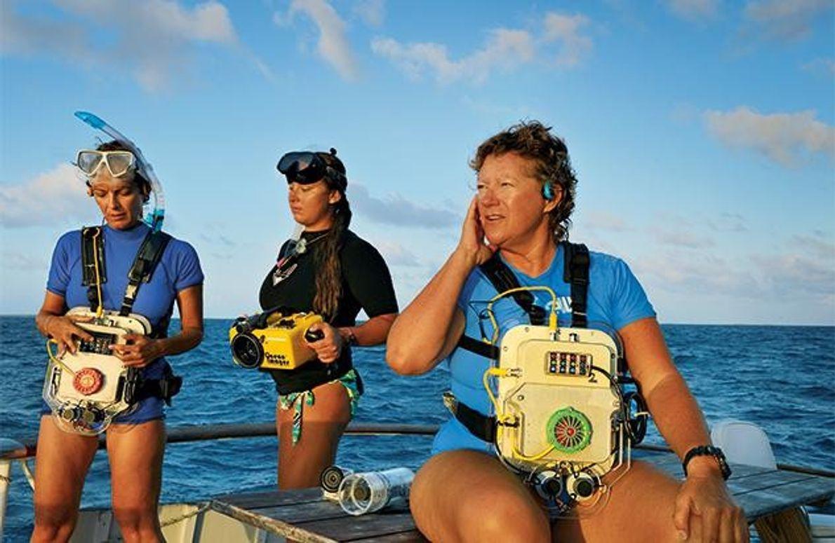 Denise Herzing (r.) untersucht das Verhalten der Delfine vor den Bahamas. Sie trägt einen Computer, der …