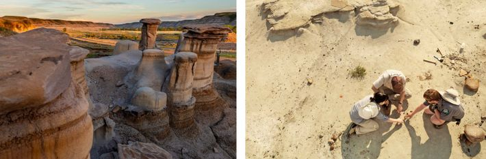 LINKS: Die Topografie der Hoodoos vor den Toren Drumhellers und des Dinosaur Provincial Parks in Alberta ...