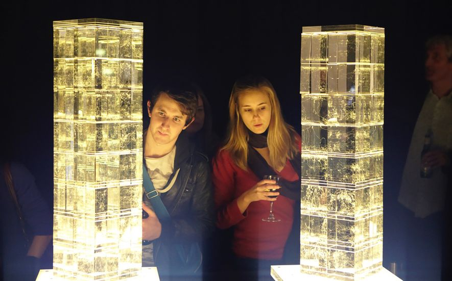 Für eine Ausstellung des Lab of Misfits wurden beleuchtete Kristallwürfel so geätzt, dass sie den Weg von Bienen aufzeigten, die in einem Experiment lernten, Farbe zu sehen.