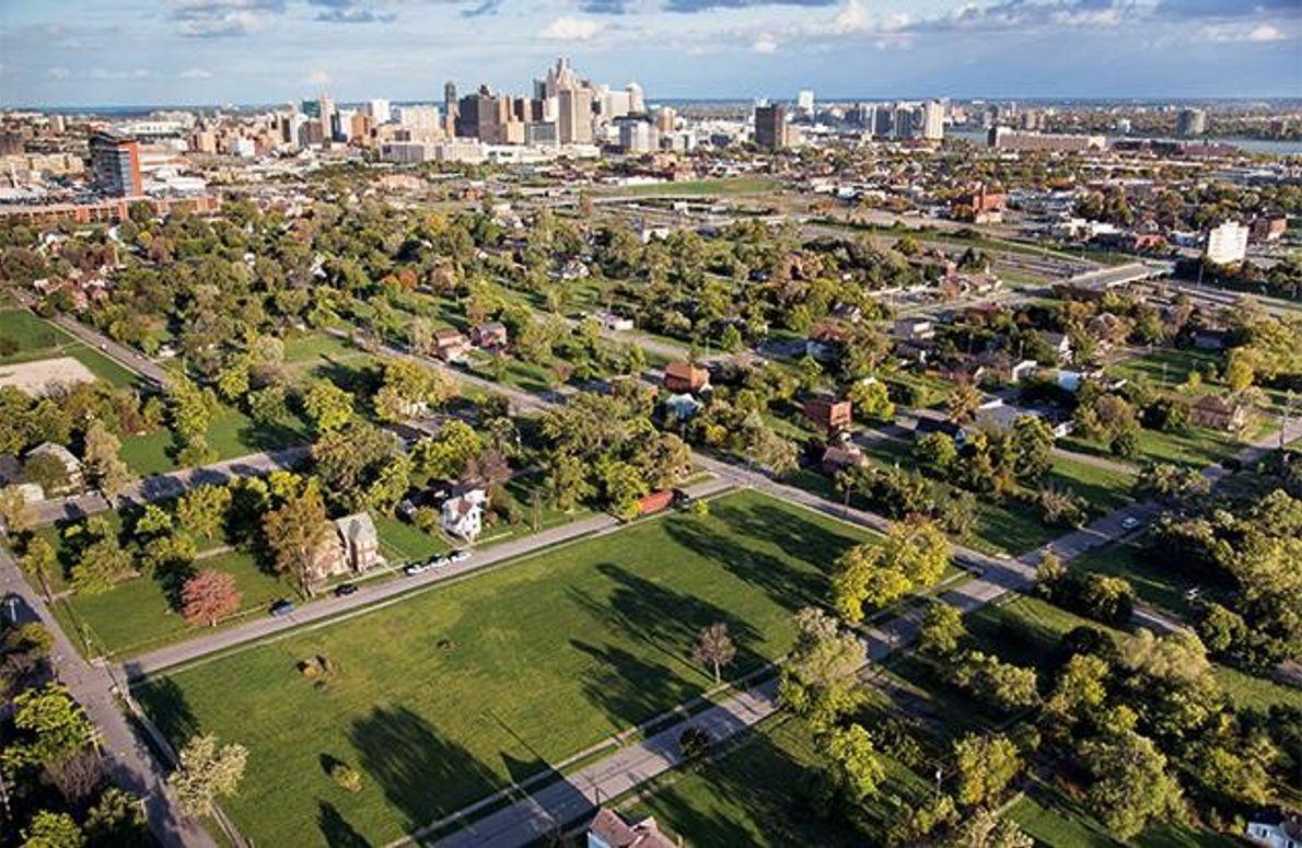 Die Innenstadt Detroits
