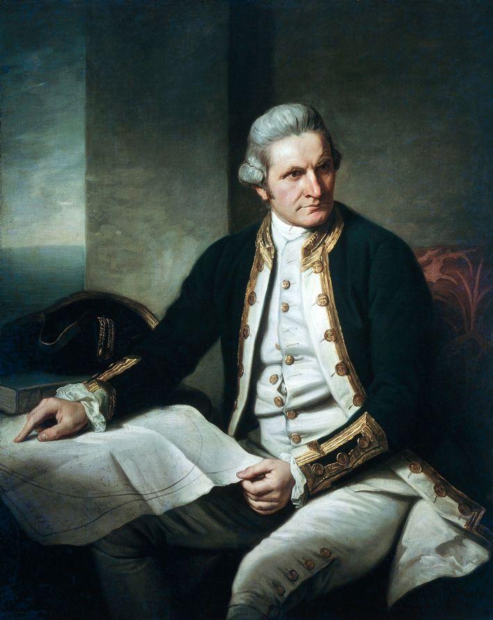 Kapitän James Cook, ein Entdecker der britischen Royal Navy, suchte drei Jahre lang nach der Antarktis, ...