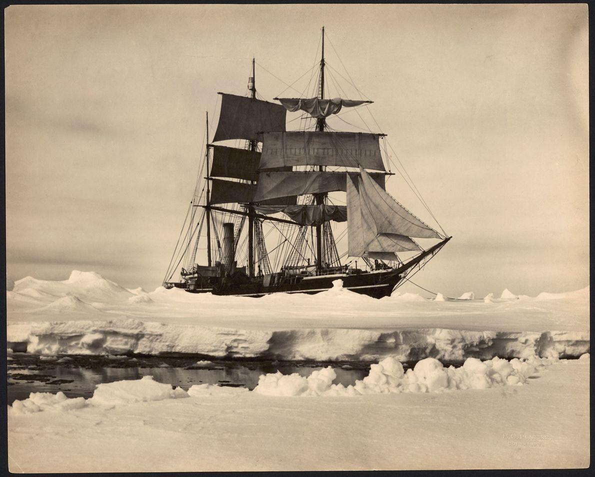 Die S.S. Terra Nova beförderte von 1910 bis 1912 Entdecker in die Antarktis. Das ehemalige Walfangschiff ...