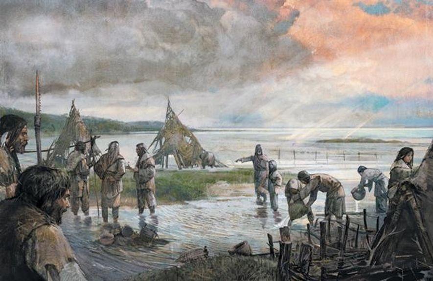 Nach einem Sturm kehren Jäger und Sammler in ihr überschwemmtes Lager zurück. Nach und nach verschlang …