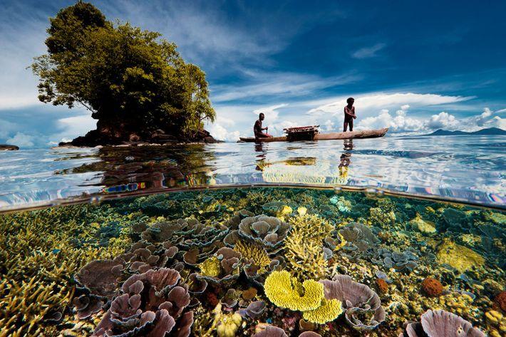 Zwei Fischer, Vater und Sohn, gleiten über einen seichten Korallengarten in der Nähe einer Halbinsel-Spitze in ...