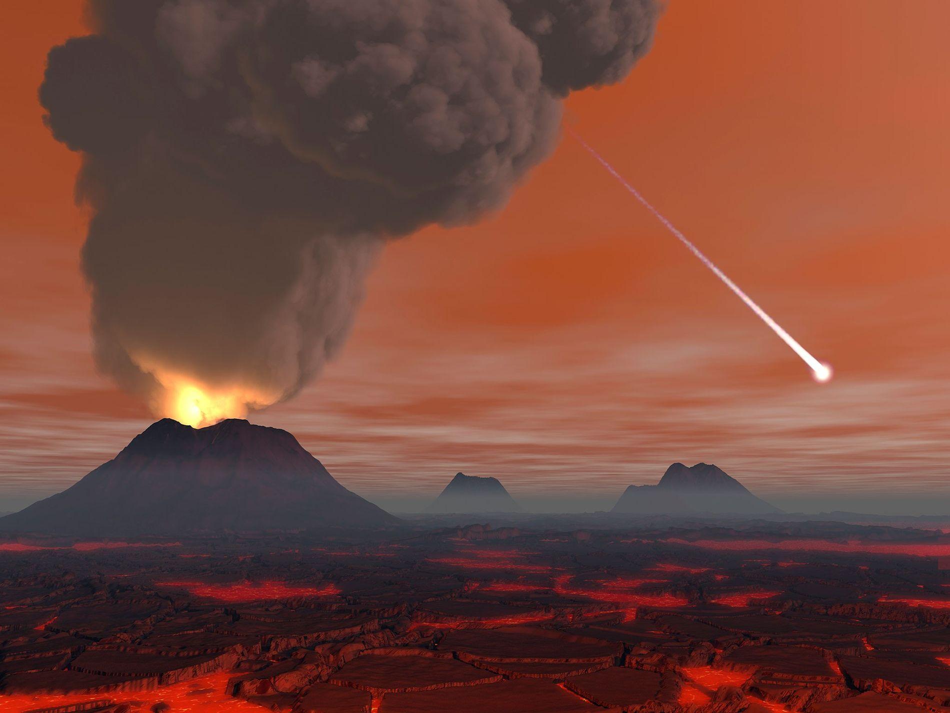 Wissenschaftler und Künstler stellen die junge Erde oft als glühende Höllenlandschaft mit Vulkanen und Lavafeldern dar. ...
