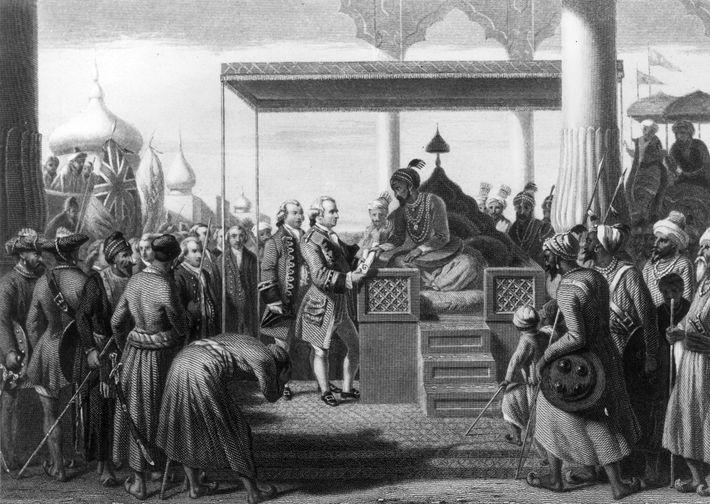 Der Mogulkaiser Schah Alam II gewährt Robert Clive, dem Anführer der Arme der Ostindien-Kompanie, das Recht ...