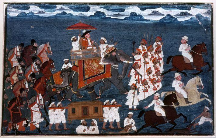 Dieses Gemälde vom Ende des 18. Jahrhunderts zeigt einen offiziellen Vertreter der Ostindien-Kompanie auf einem Elefanten ...