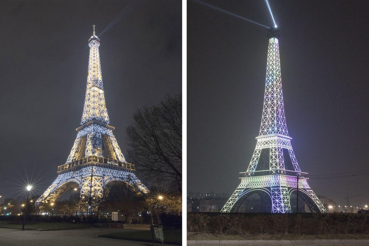 Der weltweit zweitgrößte Nachbau des Eiffelturms befindet sich in Tianducheng (rechts).