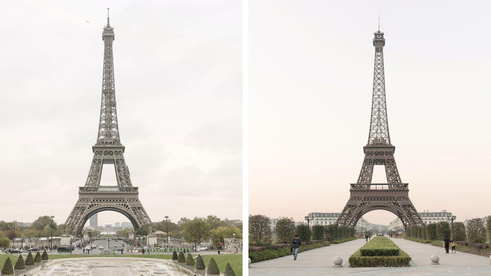 Der Eiffelturm (links) zählt zu den berühmtesten Wahrzeichen von Paris. Die zweitgrößte Nachbildung des Bauwerks befindet ...