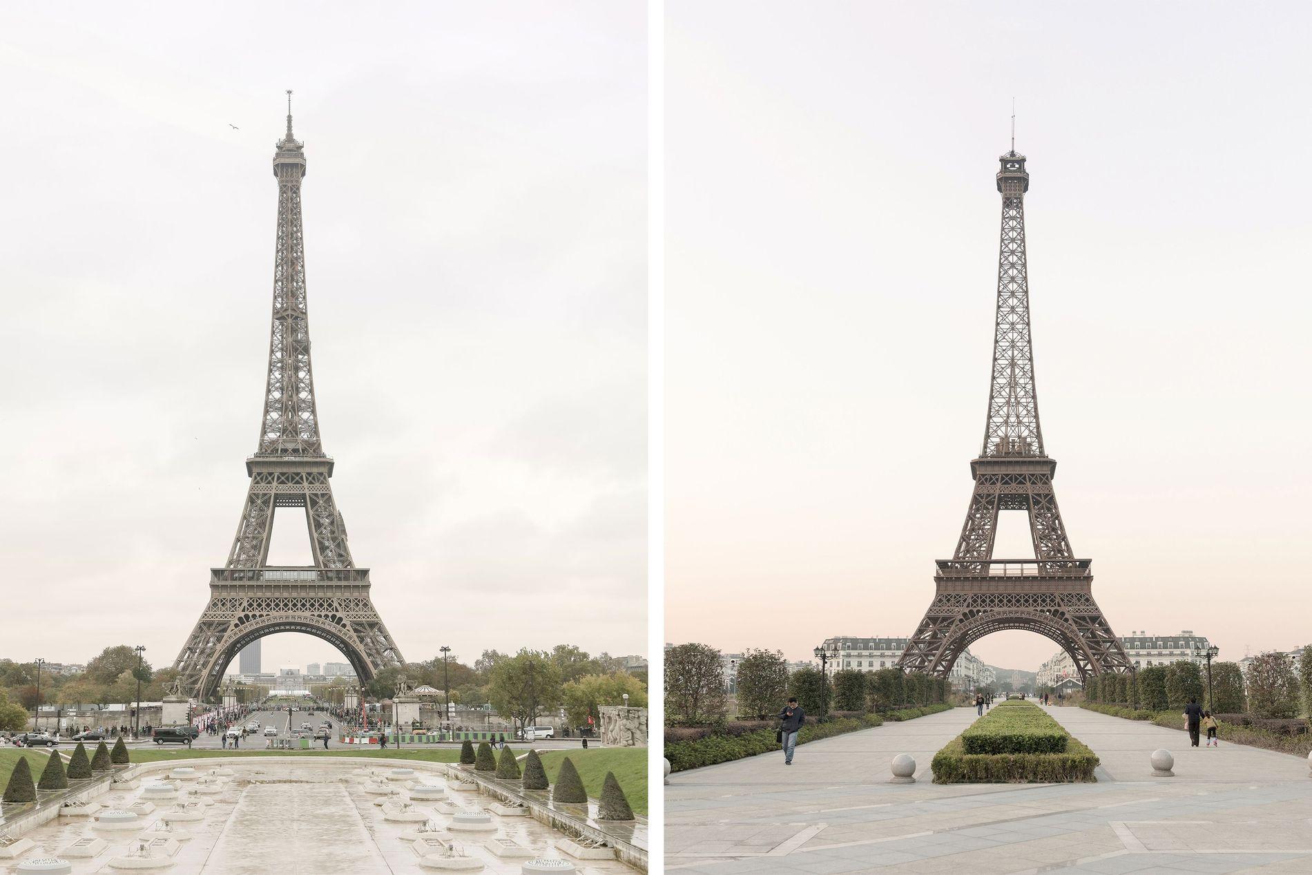 Der Eiffelturm (links) zählt zu den berühmtesten Wahrzeichen von Paris. Die zweitgrößte Nachbildung des Bauwerks befindet sich im chinesischen Tianducheng (rechts).