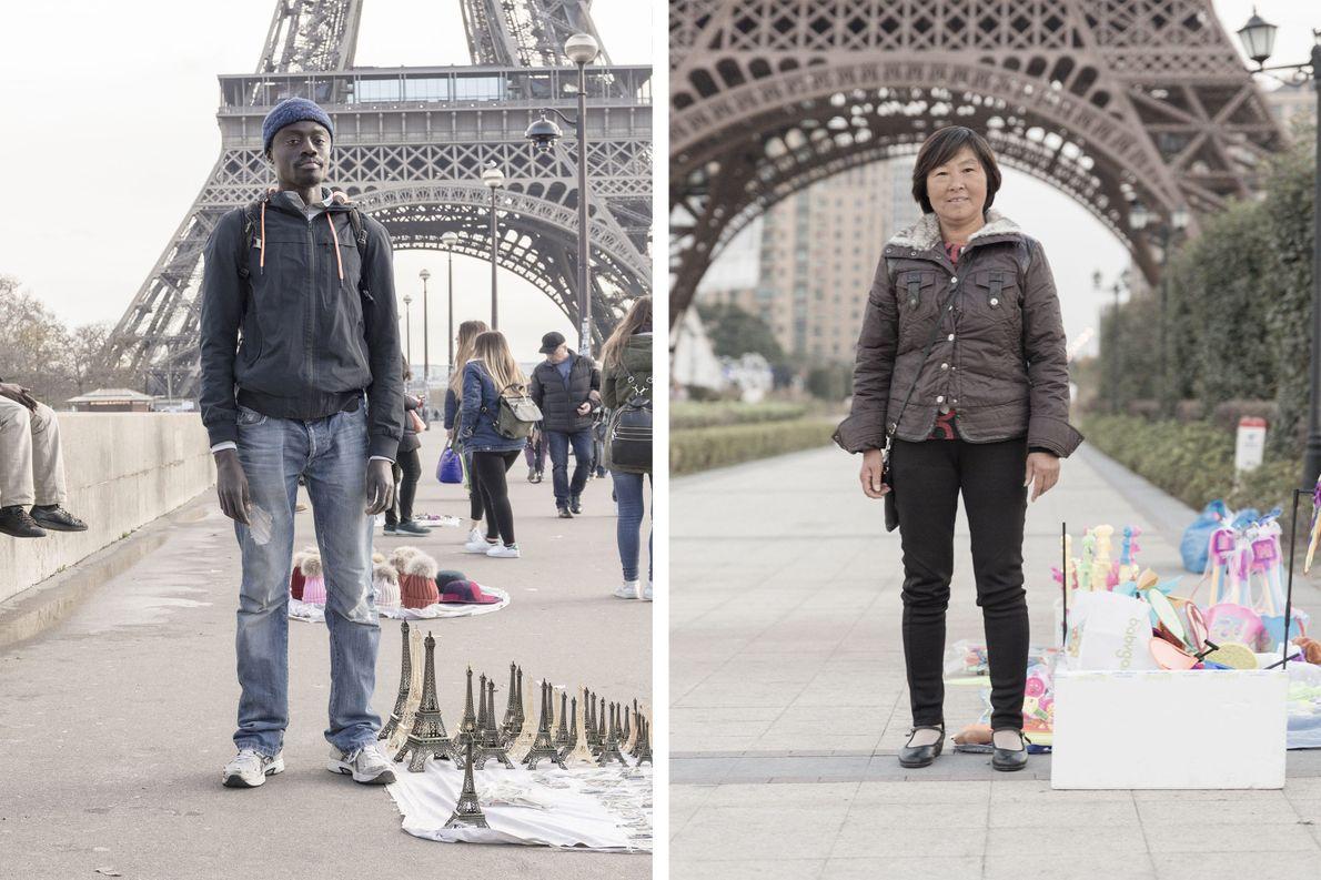 Der Eiffelturm (links) zählt zu den bekanntesten Wahrzeichen von Paris. Sein Nachbau in Tianducheng (rechts) zieht …