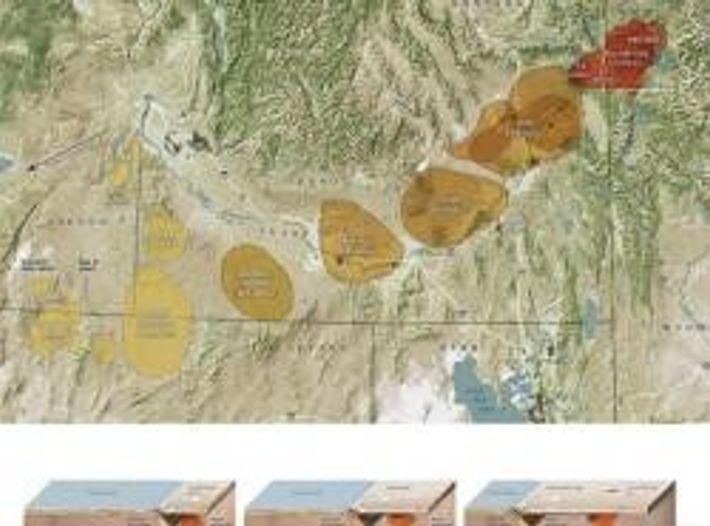 Aus dem Erdinneren unter dem Yellowstone ragt über mehrere hundert Kilometer ein Kamin voll mit heißem, ...