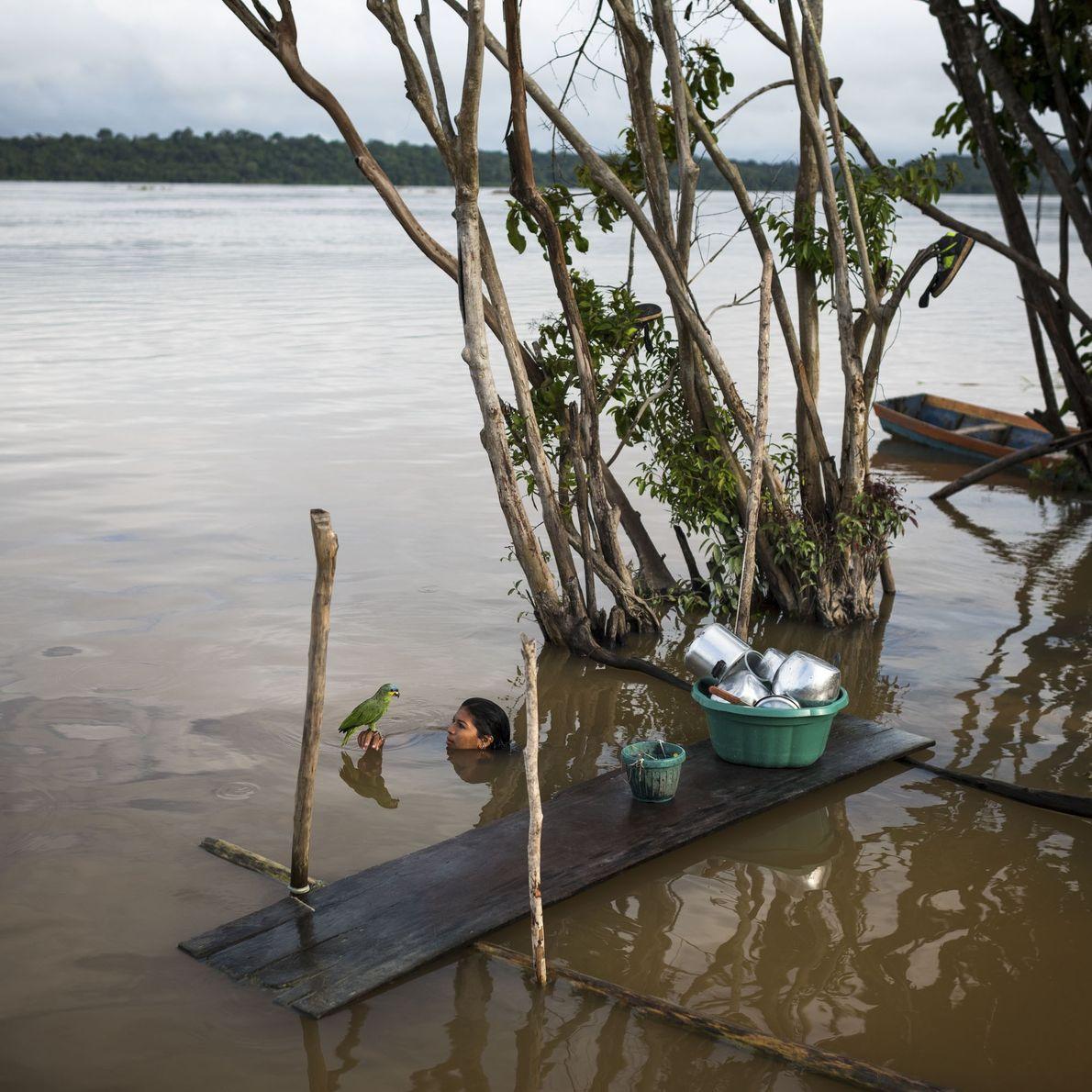 Frau mit Wellensittich im Fluss