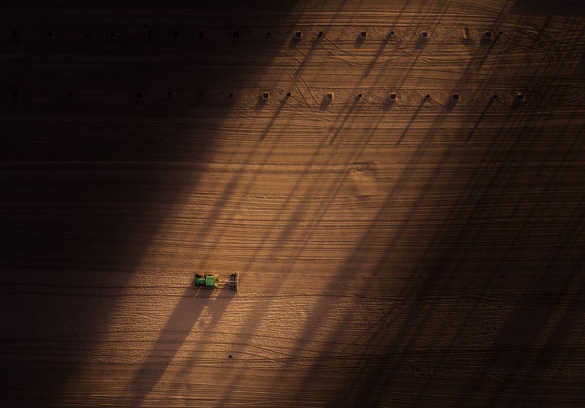 Strandarbeiter glätten den Sand von Huntington Beach in Kalifornien, bevor die Sonnenanbeter an den Strand strömen