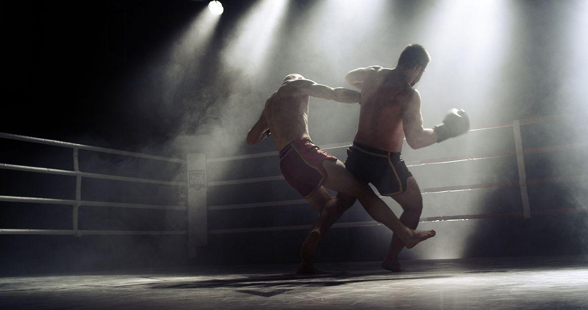 Boxer bei einem Wettkampf in Kiew, Ukraine