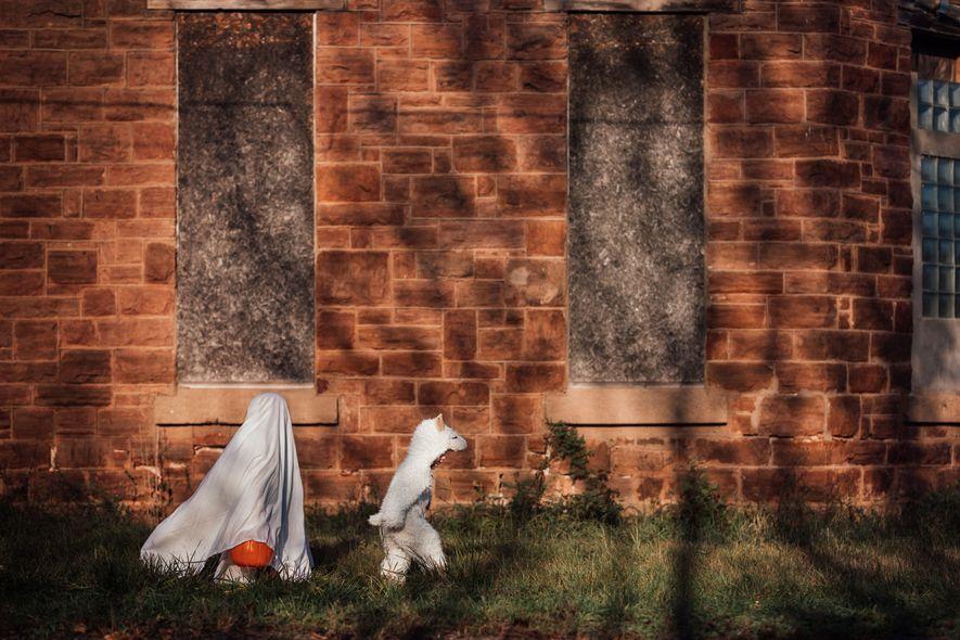 Zwei Jungs in Halloweenkostümen