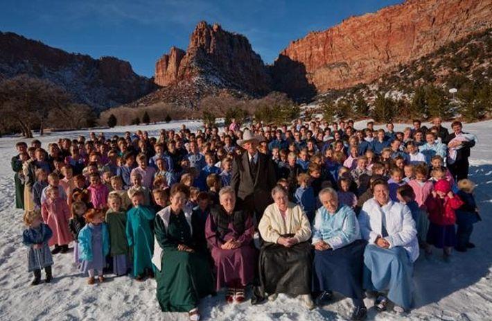 Familienfoto im winterlichen Utah