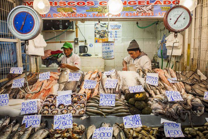Foto eines Meeresfrüchte-Verkäufers in Santiago, Chile