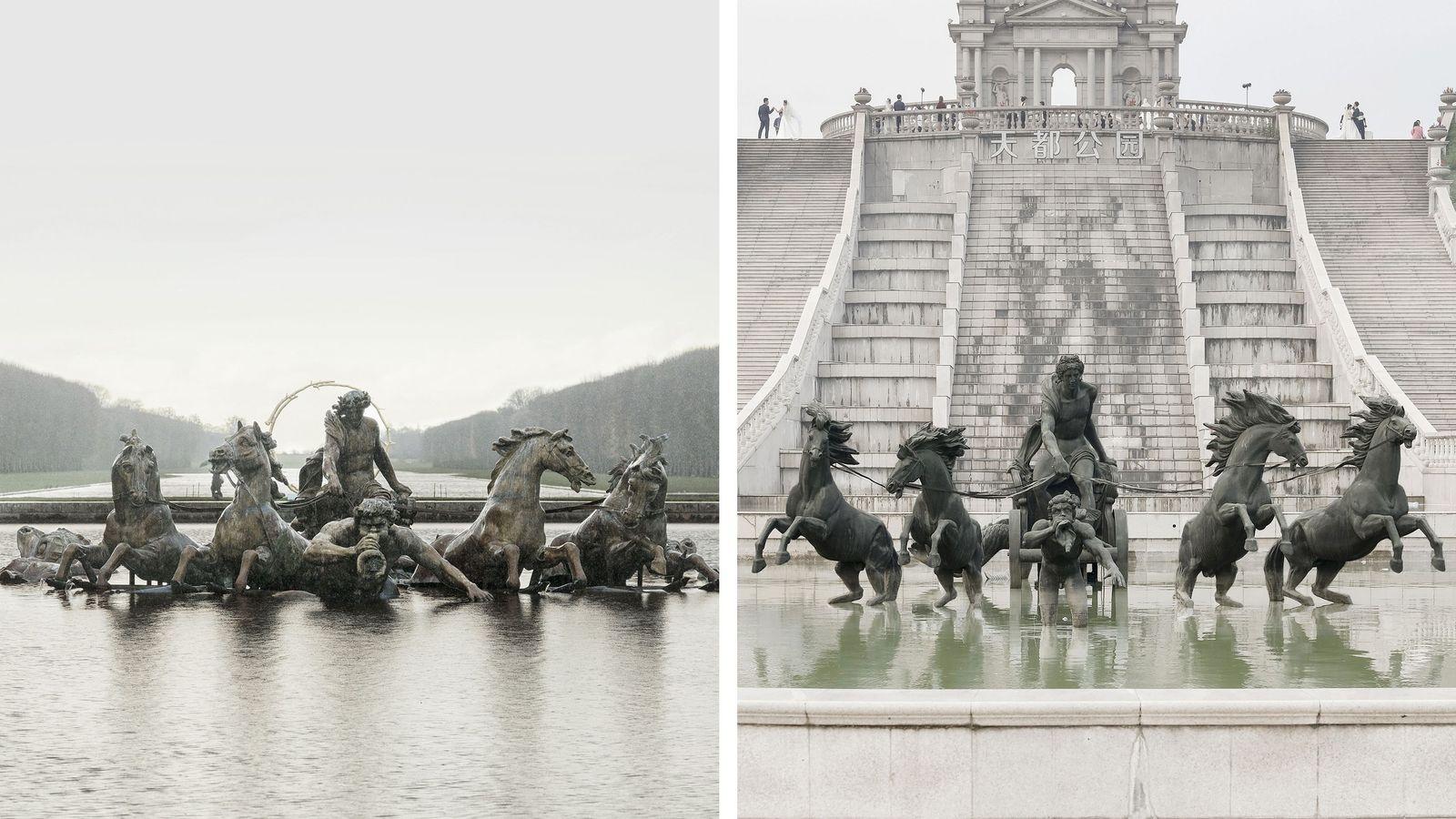 Das Bassin d'Apollon (links) findet sich in Tianducheng ein zweites Mal (rechts).