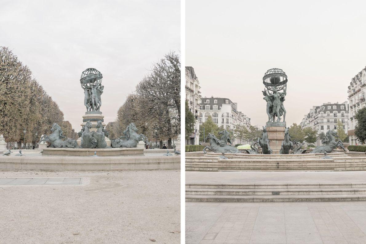 Die Fontaine de l'Observatoire in Paris (links) wurde mit einigen Änderungen in Tianducheng nachgebaut (rechts).