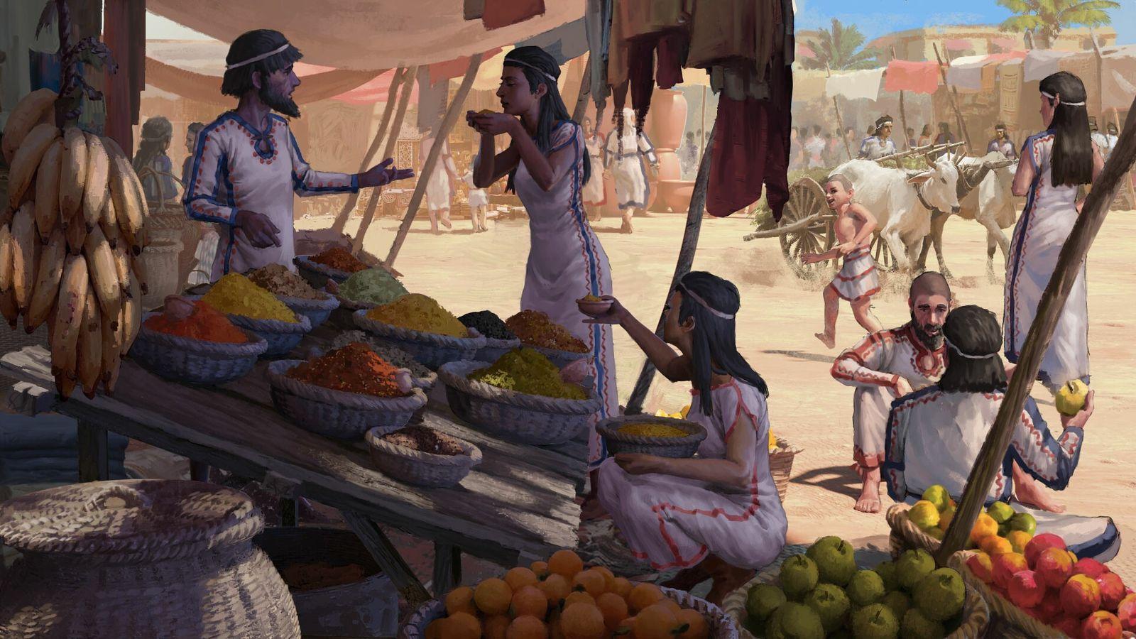 Diese Illustration eines Marktes im alten Megiddo zeigt Händler, die nicht nur Weizen, Hirse und Datteln ...