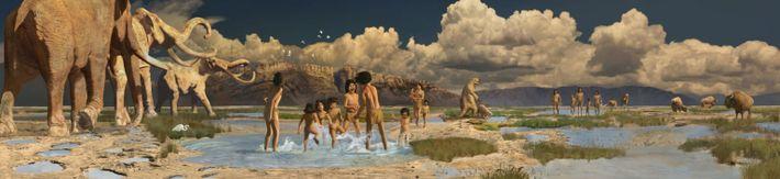 So wie in dieser künstlerischen Rekonstruktion könnte das Leben an den Ufern des heute ausgetrockneten Lake ...