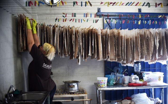 Eine Frau hängt in Cancún Papier aus Golftang zum Trocknen auf.