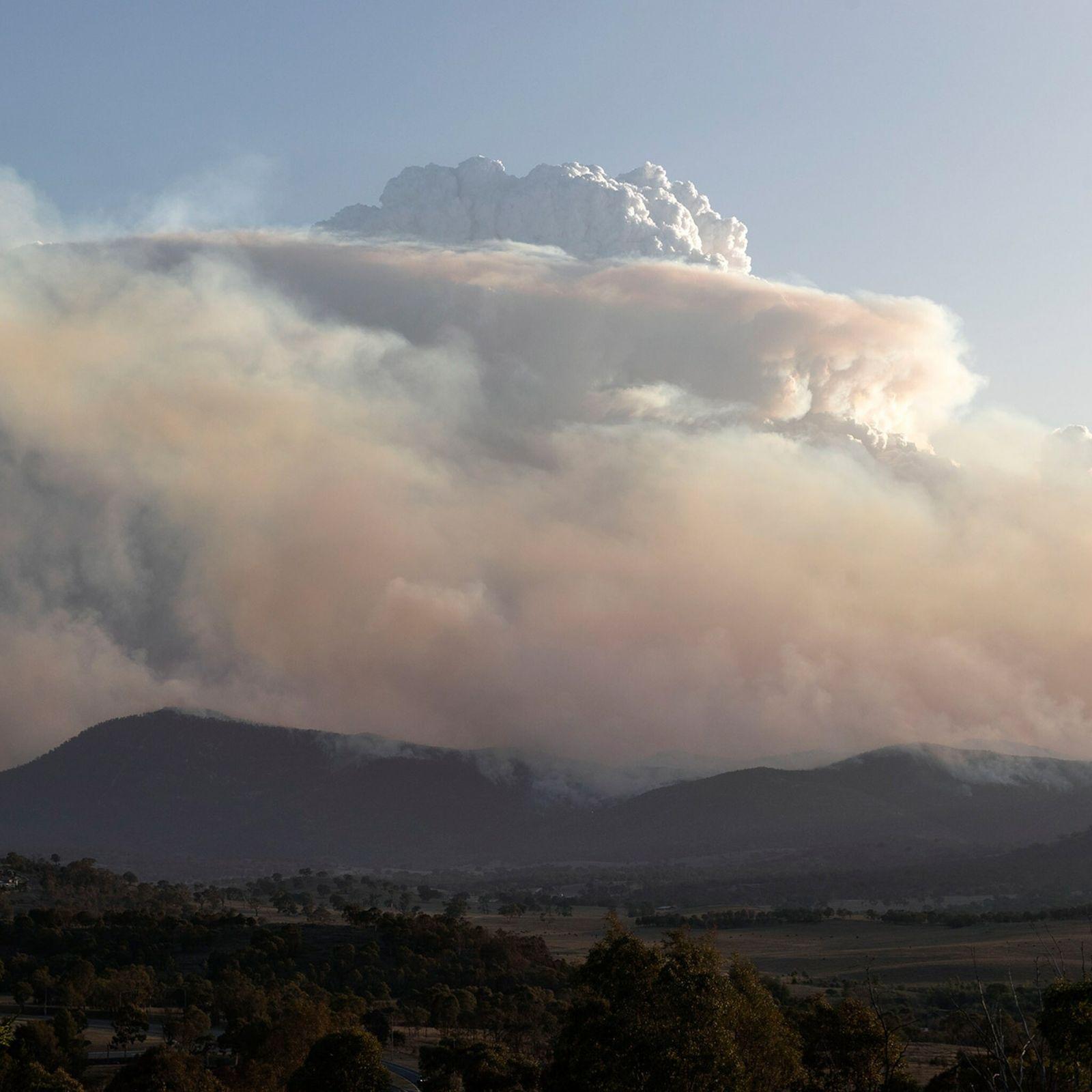 Eine Pyrocumulonimbus-Wolke steigt am 31. Januar 2020 über einem Buschfeuer im Orroral Valley im Süden Canberras, ...