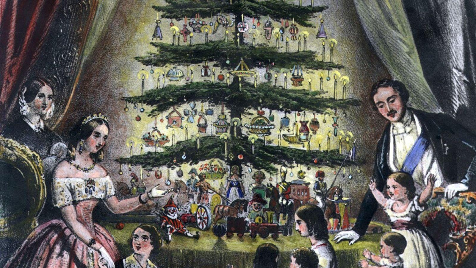 Queen Victoria, Prince Albert und ihre Kinder bewundern einen Weihnachtsbaum