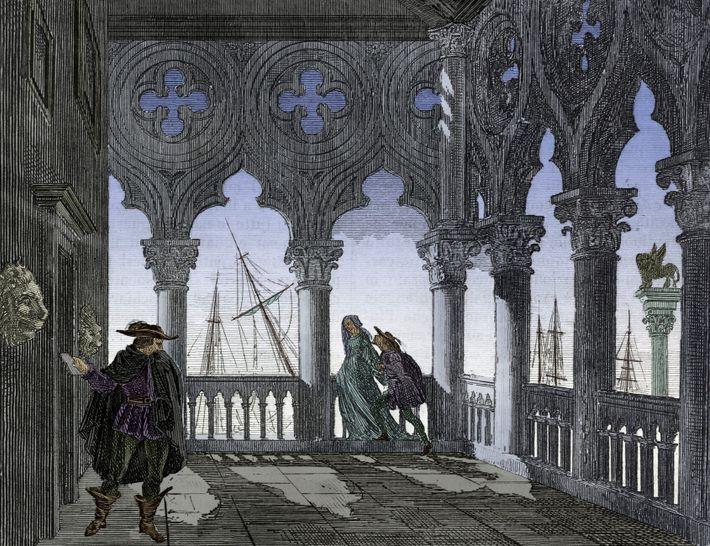 Die Venezianer konnten zu jeder Tages- und Nachtzeit handgeschriebene Notizen in die bocche di leone werfen, ...