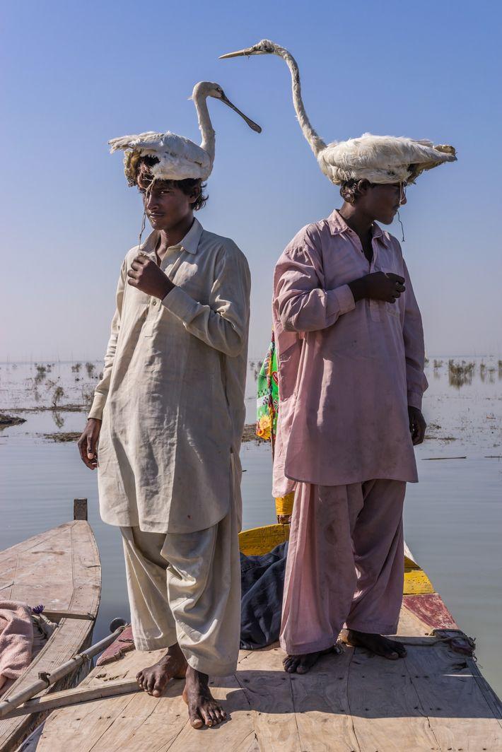 Hausbootbewohner mit Vogelattrappen