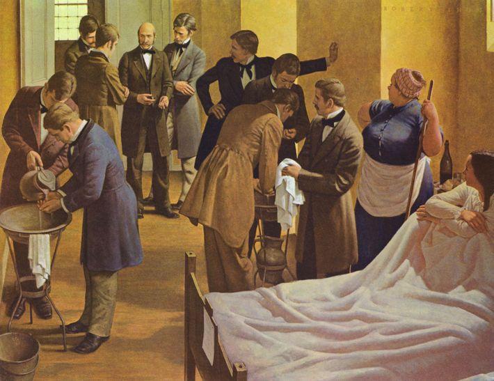 Der Maler Robert Thom zeigt Semmelweis (Mitte), der im Allgemeinen Krankenhaus in Wien Ärzte überwacht, die ...
