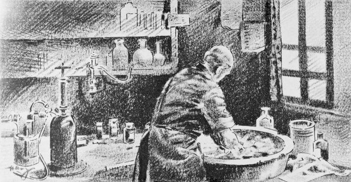 In dieser Zeichnung wäscht Semmelweis seine Hände in einer Chlorlösung. Obwohl seine Arbeit die medizinische Hygiene ...