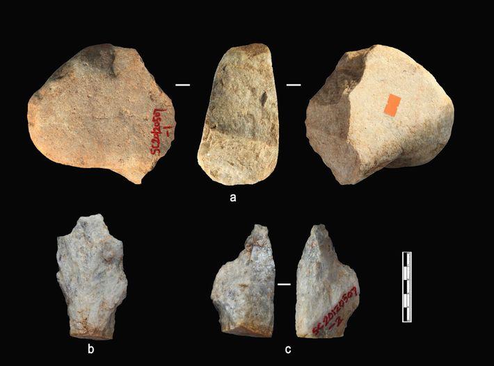 Einige Artefakte aus den ältesten Sedimentschichten von Shangchen.