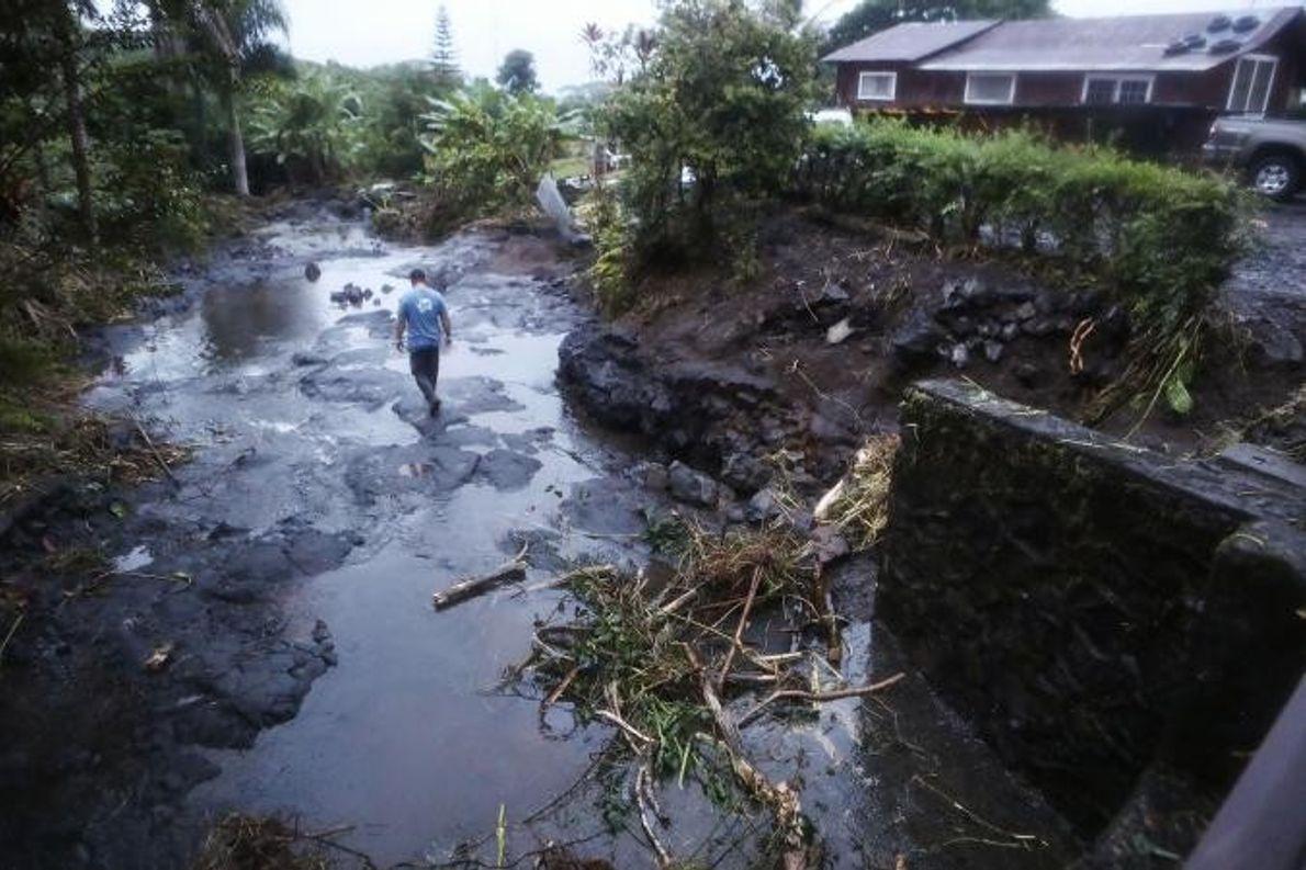 Hawaiis Big Island erlebte während Hurrikan Lane Rekordregenfälle und Überschwemmungen.