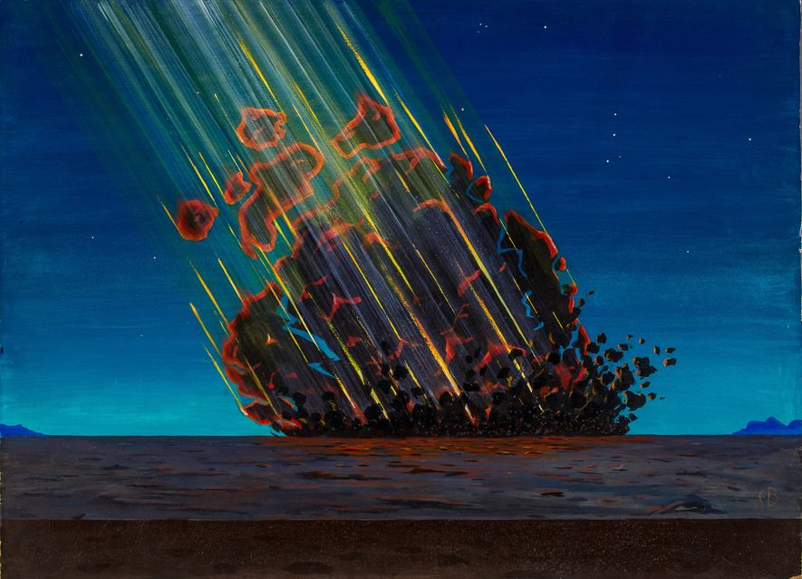 Diese Zeichnung zeigt, wie sich der Künstler den Einschlag des Kometen vorstellte, der den berühmten Barringer-Krater ...