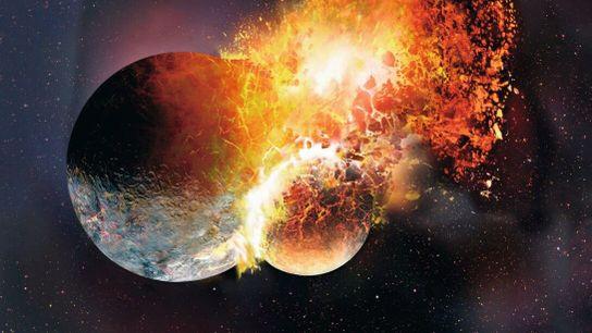 So wie in dieser Abbildung könnte der Aufprall eines Objekts von der Größe des Mars auf ...